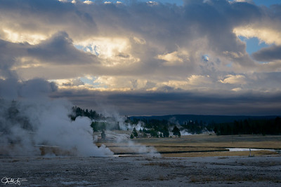 Dawn over Biscuit Basin, Yellowstone