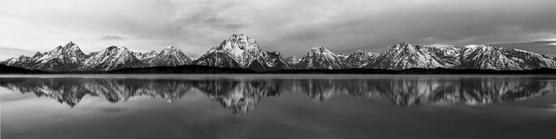 Jackson Lake Panorama in Black and White