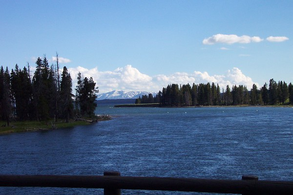 Yellowstone Lake, Inn,  and Bridge - 6/23/2002