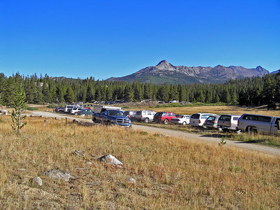 And here is the trailhead/campground.  My campground is actually over in the trees at the far end of the meadow.