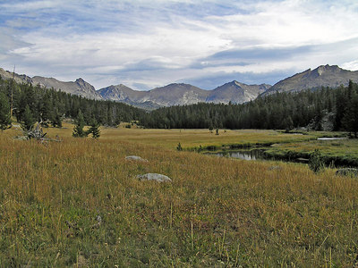 Some of the meadows were pretty good sized.  I'm headed right for the base of those mountains.