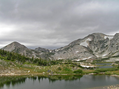 Looking across a few small lakes at Medicine Bow Peak (on the right) and Sugarloaf Mtn (on the near left).