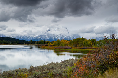 Mount Moran.  Early evening Sept 26th, 2013.  Snake river in the foreground.