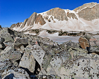 Angular Precambrian boulders form a terminal moraine above Lake Marie Two vertical image stitch - TS-E 24mm II