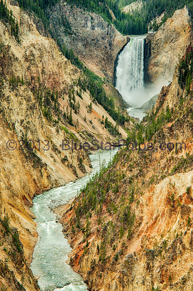 View from Artist Point looking at the Lower Falls.  This is the Yellowstone River.