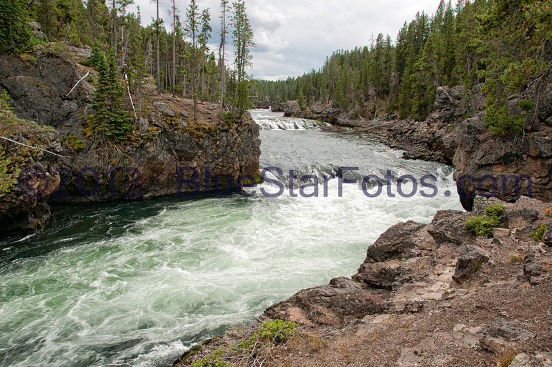 The run above the brink of the Upper Falls of the Yellowstone River.