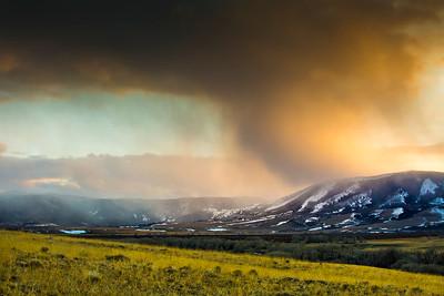Sunset in late March near Centennial, Wyoming. Snow was falling on the Snowy Range peaks.  Photo by Kyle Spradley | © Kyle Spradley Photography | www.kspradleyphoto.com