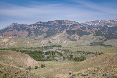 South Fork of the Shoshone River and the Absaroka Mountains, from South Fork Road, south of Cody.