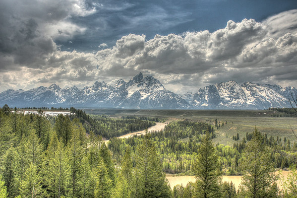 The Snake River winding through the Teton Valley.