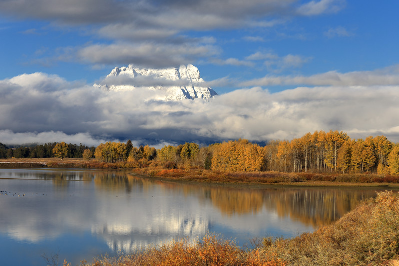 Fog and Mount Moran, Teton County, WY