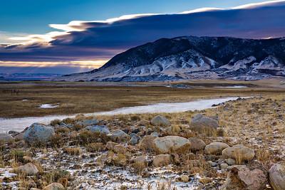 Sunrise on the foothills of the Snowy Range, west of Laramie, Wyoming during the winter.  Photo by Kyle Spradley | © Kyle Spradley Photography | www.kspradleyphoto.com