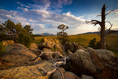 Rock formations and campsite in the Pole Mountain area of the Medicine Bow-Routt National Forest outside of Laramie, Wyoming. The area is called Vedauwoo, and its characteristic hoodoos and outcrops are made of 1.4 billion year old Sherman Granite.  Photo by Kyle Spradley | © Kyle Spradley Photography | www.kspradleyphoto.com