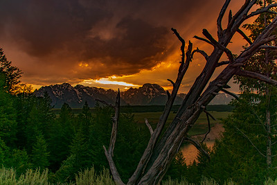 Sunset Over the Grand Tetons and the Snake River