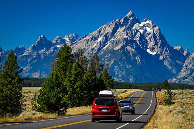 The main road of the Grand Teton National Park.  Photo by Kyle Spradley | www.kspradleyphoto.com.