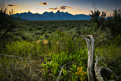 Sunset in Grand Teton National Park in Wyoming. The Teton Range is silouhetted from across the fields of Mormon Row.  Photo by Kyle Spradley | www.kspradleyphoto.com.