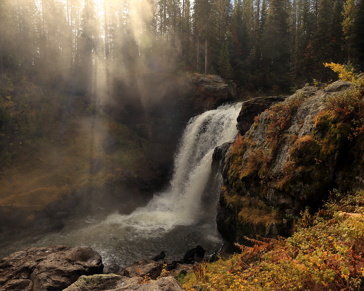Autumn Sunrise and Moose Falls, Teton County, WY