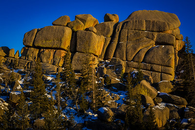 Winter sunset around the Vedauwoo Campground in the Medicine Bow National Forest. The granite rock formations outside of Laramie and Cheyenne are popular for mountain biking, rock climbing, hiking and camping.  Photo by Kyle Spradley | © Kyle Spradley Photography | www.kspradleyphoto.com