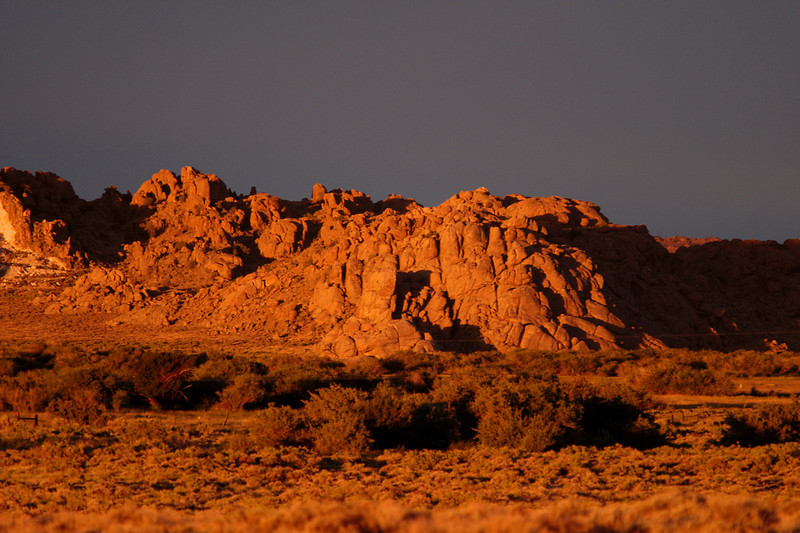 Sunset glow on Sweetwater Rocks east of Jeffrey City