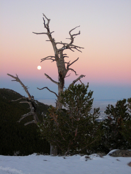 Moonrise near Wild Horse Point on Green Mountain, central Wyoming