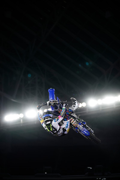 X Games at US Bank Stadium in Minneapolis, Minnesota - August 3.  Jarryd McNeil catching air during the Moto X Best Whip competition.