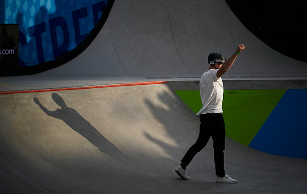 X Games at US Bank Stadium in Minneapolis, Minnesota - August 3.  Matt Ray walking off during the BMX Street competition.