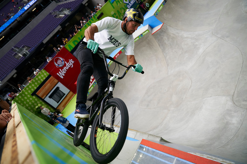 X Games at US Bank Stadium in Minneapolis, Minnesota - August 3.  A BMX athlete riding the wall during the Pacifico Men's BMX Park competition.