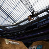 X Games at US Bank Stadium in Minneapolis, Minnesota - August 1.  A BMX rider backflips in the BMX Dirt Elimination round.