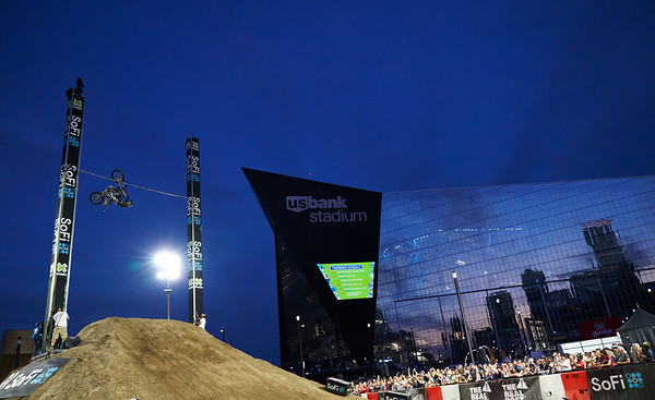 X Games at US Bank Stadium in Minneapolis, Minnesota - August 1.  Athletes compete in the Moto X Step Up competition as dusk settles on day one.