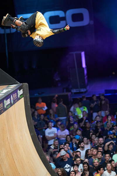 X Games at The Armory in Minneapolis, Minnesota - August 1.  Augusto Akio catches air time during the Pacifico Skateboard Vert competition.