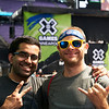 X Games at US Bank Stadium in Minneapolis, Minnesota - August 3.  Fans Jerry Buckley and Ze Bachelani pose for a portrait.