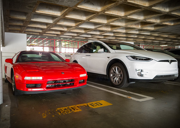 Motor Trend's Model X is still here on Labor Day....so I can preview how the cars look side-by-side.  The Model X is definitely bigger than my NSX!
