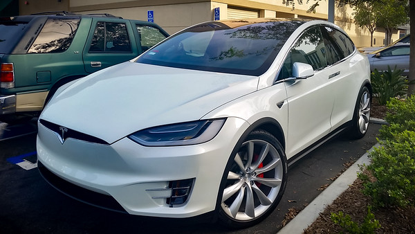 First sighting of a Model X in the wild...during our office's Starbucks walk