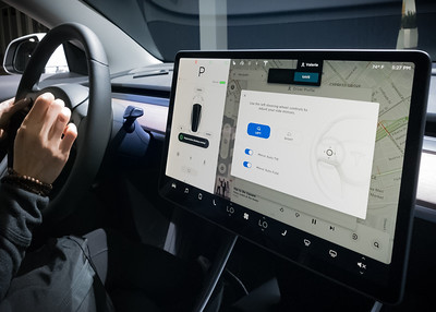 The Tesla Delivery Specialist helps Valerie configure her car.  The touchscreen is a bit different than Model X's since it is the 3's ONLY display.
