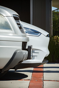 Both cars are currently lined up at the rear...so, lengthwise, the Model X wins by a nose!