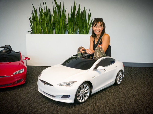Valerie and I have returned to where we took delivery of Valerie's first Tesla, so we obviously had to get another shot of her sitting in hers