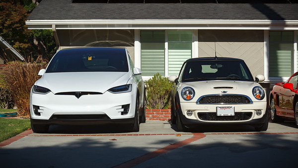 Before we got Tesla's SUV, Valerie parked her cars in the garage.  When she got her MINI, it made our smallish garage look pretty big.  Only on rare occasions did we park the Pilot inside because it was a snug fit.  The X barely fits.