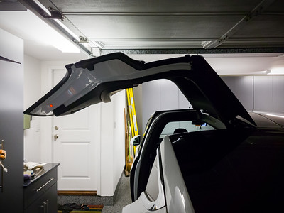"I am actually shocked to learn that Model X's ""very low"" air suspension setting grants enough clearance for the Falcon Wing doors to open to their default position.  If I permit Model X to fully open them at this location, they still stop short of making contact.  And, much to my surprise, I can fully open the doors when the garage door is closed.  The passenger side door comes nowhere near hitting the NSX.  I'm not sure I should ever fully open the FWD in the garage though...if I were to mistakenly leave them up and open the garage, the garage door iteself would impact the side of the vehicle's door.  Either way, I wish the car's suspension would always automatically drop to the ""very low"" position when I park."