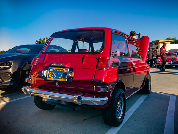 Honda N600...red, just like my dad's and with the same color and vintage California license plate