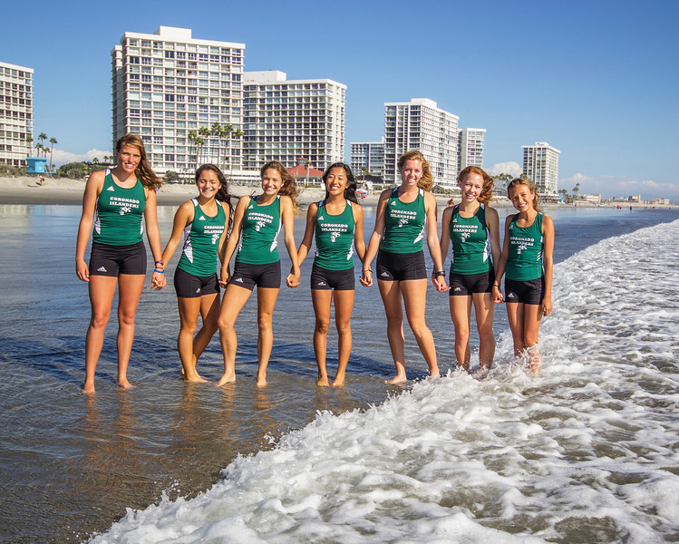 2014 Coronado High School Varsity Girls Cross Country Team, Coronado California: From left to right are Haley Chasin, Jasmine Rippey, Renee Phillips, Aeron Yim, Hannah Downey, Kayla Bierschbach, Chapin Miller-Maes
