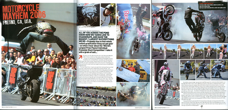 "STREETFIGHTERS (UK) ISSUE #156 - Features our exclusive 3 Page coverage of this event -Available NOW at your finer newsagents!!  STREETFIGHTERS MAG (UK) is the Worlds Premier Ultimate  Custom M/C Publication:  ""A Maverick Cult on the Fringes of Respectable Motorcycling""<p><a href=""http://www.streetfightersmag.com/"" target=""new""> Visit STREETFIGHTERS WEB SITE</a></p>  <div class=""ss-paypal-button""><div class=""fancy-paypal-box"">  <div class=""left-side"">   <div class=""ss-paypal-add-to-cart-section""><div class=""ss-paypal-product-options""> <h4>PRICES inc. Ship/Hand:</h4> <ul> <li><a href=""https://www.paypal.com/cgi-bin/webscr?cmd=_cart&amp;business=BZRZ3VMEMKS5E&amp;lc=US&amp;item_name=STREETFIGHTERS%20(UK)%20ISSUE%20%23156%20-%20Features%20our%20exclusive%203%20Page%20coverage%20of%20this%20event%20-Available%20NOW%20at%20your%20finer%20newsagents!!&amp;item_number=http%3A%2F%2Fwww.hooliganunderground.com%2FXDLWBBFSTUNTS%2F2nd-ANNUAL-MOTORCYCLE-MAYHEM%2Fi-QDFQxkk&amp;button_subtype=products&amp;no_note=0&amp;cn=Add%20special%20instructions%20to%20the%20seller%3A&amp;no_shipping=2&amp;currency_code=USD&amp;tax_rate=9.750&amp;add=1&amp;bn=PP-ShopCartBF%3Abtn_cart_LG.gif%3ANonHosted&amp;on0=PRICES%20inc.%20Ship%2FHand%3A&amp;option_select0=Digital%20for%20web&amp;option_amount0=5.95&amp;option_select1=8.5%20x%2011%22%20glossy&amp;option_amount1=19.95&amp;option_select2=12%20x%2018%22%20lustre&amp;option_amount2=49.95&amp;option_select3=20%20x%2030%22%20lustre&amp;option_amount3=69.95&amp;option_index=0&amp;submit=&amp;os0=Digital%20for%20web"" target=""paypal""><span>Digital for web $ 5.95 USD</span><img src=""https://www.paypalobjects.com/en_US/i/btn/btn_cart_SM.gif""></a></li> <li><a href=""https://www.paypal.com/cgi-bin/webscr?cmd=_cart&amp;business=BZRZ3VMEMKS5E&amp;lc=US&amp;item_name=STREETFIGHTERS%20(UK)%20ISSUE%20%23156%20-%20Features%20our%20exclusive%203%20Page%20coverage%20of%20this%20event%20-Available%20NOW%20at%20your%20finer%20newsagents!!&amp;item_number=http%3A%2F%2Fwww.hooliganunderground.com%2FXDLWBBFSTUNTS%2F2nd-ANNUAL-MOTORCYCLE-MAYHEM%2Fi-QDFQxkk&amp;button_subtype=products&amp;no_note=0&amp;cn=Add%20special%20instructions%20to%20the%20seller%3A&amp;no_shipping=2&amp;currency_code=USD&amp;tax_rate=9.750&amp;add=1&amp;bn=PP-ShopCartBF%3Abtn_cart_LG.gif%3ANonHosted&amp;on0=PRICES%20inc.%20Ship%2FHand%3A&amp;option_select0=Digital%20for%20web&amp;option_amount0=5.95&amp;option_select1=8.5%20x%2011%22%20glossy&amp;option_amount1=19.95&amp;option_select2=12%20x%2018%22%20lustre&amp;option_amount2=49.95&amp;option_select3=20%20x%2030%22%20lustre&amp;option_amount3=69.95&amp;option_index=0&amp;submit=&amp;os0=8.5%20x%2011%22%20glossy"" target=""paypal""><span> 8.5 x 11"" gloss $19.95 USD</span><img src=""https://www.paypalobjects.com/en_US/i/btn/btn_cart_SM.gif""></a></li> <li><a href=""https://www.paypal.com/cgi-bin/webscr?cmd=_cart&amp;business=BZRZ3VMEMKS5E&amp;lc=US&amp;item_name=STREETFIGHTERS%20(UK)%20ISSUE%20%23156%20-%20Features%20our%20exclusive%203%20Page%20coverage%20of%20this%20event%20-Available%20NOW%20at%20your%20finer%20newsagents!!&amp;item_number=http%3A%2F%2Fwww.hooliganunderground.com%2FXDLWBBFSTUNTS%2F2nd-ANNUAL-MOTORCYCLE-MAYHEM%2Fi-QDFQxkk&amp;button_subtype=products&amp;no_note=0&amp;cn=Add%20special%20instructions%20to%20the%20seller%3A&amp;no_shipping=2&amp;currency_code=USD&amp;tax_rate=9.750&amp;add=1&amp;bn=PP-ShopCartBF%3Abtn_cart_LG.gif%3ANonHosted&amp;on0=PRICES%20inc.%20Ship%2FHand%3A&amp;option_select0=Digital%20for%20web&amp;option_amount0=5.95&amp;option_select1=8.5%20x%2011%22%20glossy&amp;option_amount1=19.95&amp;option_select2=12%20x%2018%22%20lustre&amp;option_amount2=49.95&amp;option_select3=20%20x%2030%22%20lustre&amp;option_amount3=69.95&amp;option_index=0&amp;submit=&amp;os0=12%20x%2018%22%20lustre"" target=""paypal""><span>12 x 18"" lustre $49.95 USD</span><img src=""https://www.paypalobjects.com/en_US/i/btn/btn_cart_SM.gif""></a></li> <li><a href=""https://www.paypal.com/cgi-bin/webscr?cmd=_cart&amp;business=BZRZ3VMEMKS5E&amp;lc=US&amp;item_name=STREETFIGHTERS%20(UK)%20ISSUE%20%23156%20-%20Features%20our%20exclusive%203%20Page%20coverage%20of%20this%20event%20-Available%20NOW%20at%20your%20finer%20newsagents!!&amp;item_number=http%3A%2F%2Fwww.hooliganunderground.com%2FXDLWBBFSTUNTS%2F2nd-ANNUAL-MOTORCYCLE-MAYHEM%2Fi-QDFQxkk&amp;button_subtype=products&amp;no_note=0&amp;cn=Add%20special%20instructions%20to%20the%20seller%3A&amp;no_shipping=2&amp;currency_code=USD&amp;tax_rate=9.750&amp;add=1&amp;bn=PP-ShopCartBF%3Abtn_cart_LG.gif%3ANonHosted&amp;on0=PRICES%20inc.%20Ship%2FHand%3A&amp;option_select0=Digital%20for%20web&amp;option_amount0=5.95&amp;option_select1=8.5%20x%2011%22%20glossy&amp;option_amount1=19.95&amp;option_select2=12%20x%2018%22%20lustre&amp;option_amount2=49.95&amp;option_select3=20%20x%2030%22%20lustre&amp;option_amount3=69.95&amp;option_index=0&amp;submit=&amp;os0=20%20x%2030%22%20lustre"" target=""paypal""><span>20 x 30"" lustre $69.95 USD</span><img src=""https://www.paypalobjects.com/en_US/i/btn/btn_cart_SM.gif""></a></li> </ul> </div></div>  </div>  <div class=""right-side"">   <div class=""ss-paypal-view-cart-section""><a href=""https://www.paypal.com/cgi-bin/webscr?cmd=_cart&amp;business=BZRZ3VMEMKS5E&amp;display=1&amp;item_name=STREETFIGHTERS%20(UK)%20ISSUE%20%23156%20-%20Features%20our%20exclusive%203%20Page%20coverage%20of%20this%20event%20-Available%20NOW%20at%20your%20finer%20newsagents!!&amp;item_number=http%3A%2F%2Fwww.hooliganunderground.com%2FXDLWBBFSTUNTS%2F2nd-ANNUAL-MOTORCYCLE-MAYHEM%2Fi-QDFQxkk&amp;submit="" target=""paypal"" class=""ss-paypal-submit-button""><img src=""https://www.paypalobjects.com/en_US/i/btn/btn_viewcart_LG.gif""></a></div>         <a class=""how-paypal-works"" href=""https://www.paypal.com/webapps/mpp/paypal-popup"" title=""How PayPal Works"" target=""_blank"">    <img src=""https://www.paypalobjects.com/webstatic/mktg/logo/pp_cc_mark_74x46.jpg"" alt=""PayPal Logo""></a>     </div> </div></div><div class=""ss-paypal-button-end"" style=""""></div>"