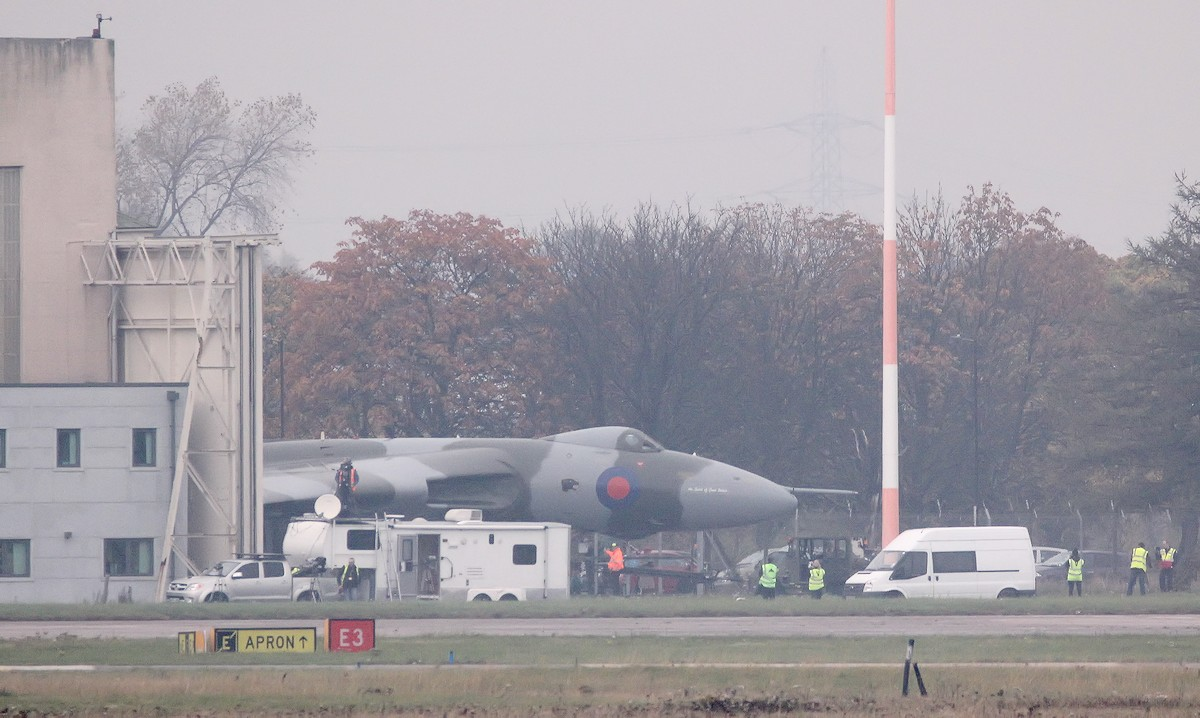 Just after 2pm the hangar doors opened and XH558 emerged from her hangar. Unusually the crew were already aboard with some of the pre-flight checks already carried out behind closed doors.<br /> By Jim Calow.
