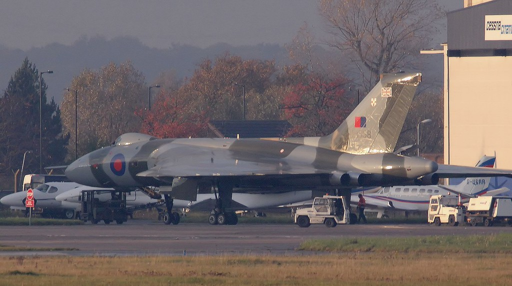 Heading for the hangar.<br /> By Jim Calow.