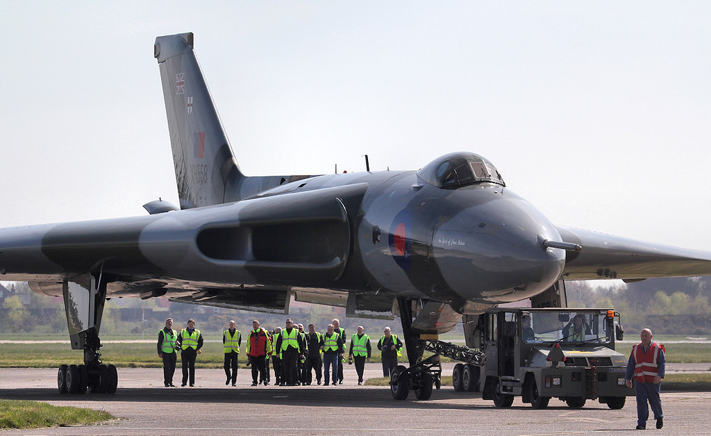 XH558 is towed back to her hangar.<br /> By Jim Calow.