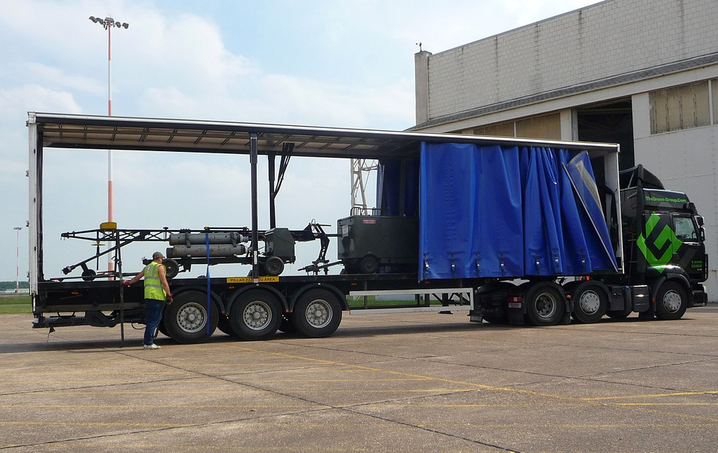 Wednesday 19th ...........the Vulcans tow bar & ground power <br /> units are loaded onto a lorry for the long drive to Manston<br /> By Correne Calow.