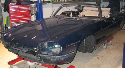 Shell stripped ready for respray in Westminster blue