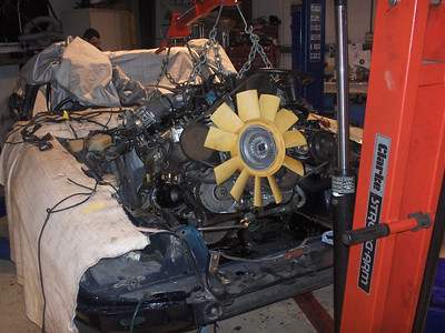Overhauled engine going back in