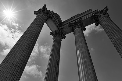 Reconstruction of Roman harbour temple (b/w)