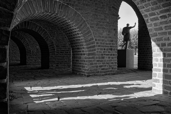 Shadows in  a passageway of the amphitheatre (b/w)