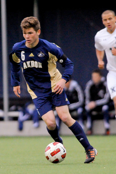 Akron (6) Wil Trapp during the game between the Xavier Musketeers and Akron Zips Cincinnati, Ohio.  Xavier and Akron ended in a draw (1-1).