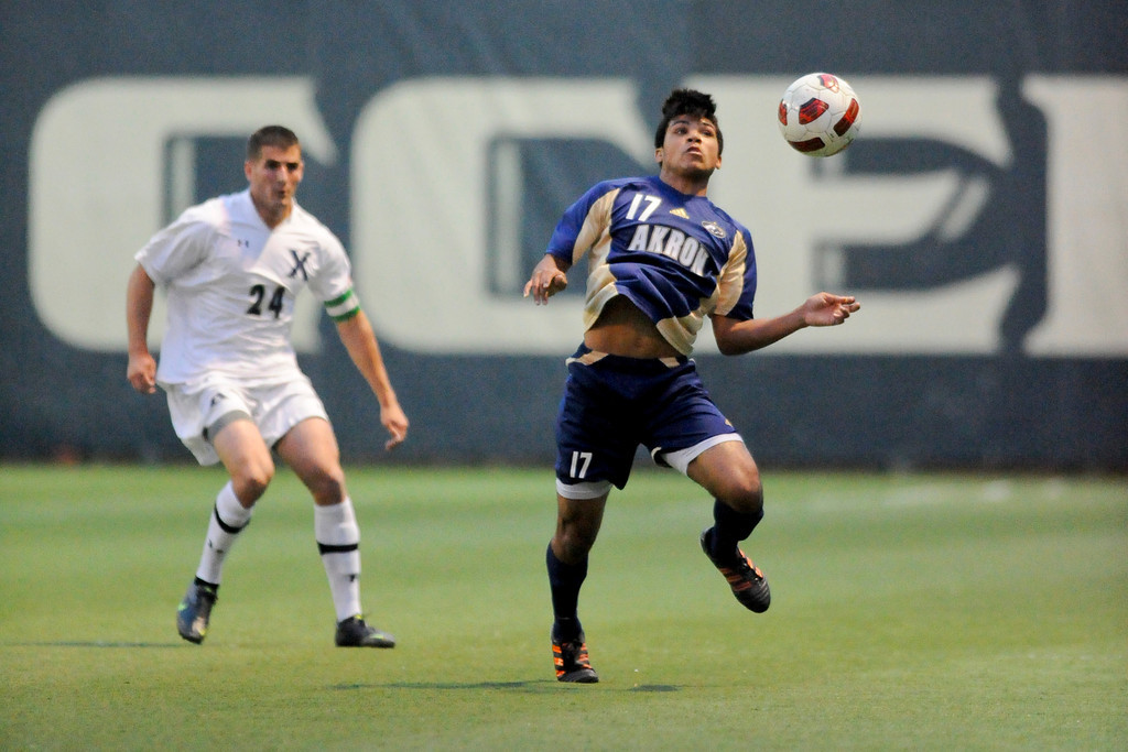 Akron (17) DeAndre Yedlin during the game between the Xavier Musketeers and Akron Zips Cincinnati, Ohio.  Xavier and Akron ended in a draw (1-1).